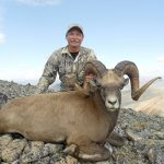 Gary young Magadan snow sheep hunting with Kulu Safaris