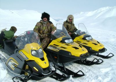 Snowmobiling in the mountains of Magadan, Russia