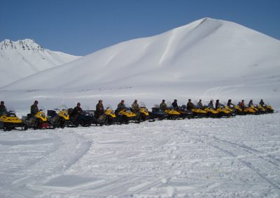 Snowmobiling while hunting in Magadan, Russia