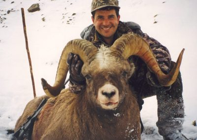 Alejandro Vasquez with big snow sheep