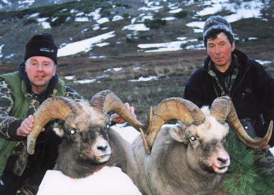 Hunters with their trophies in Magadan, Russia with Kulu Safaris