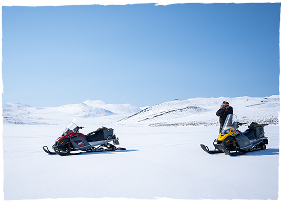 snowmobiles in russia while hunting with Kulu Safaris